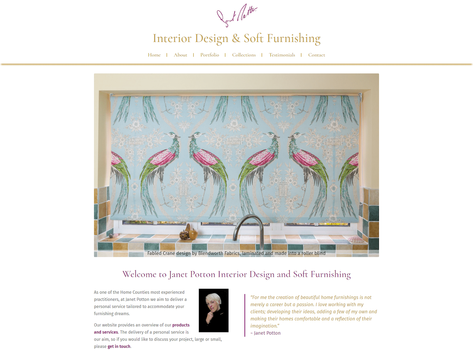 Screenshot of Janet Potton Interior Design website