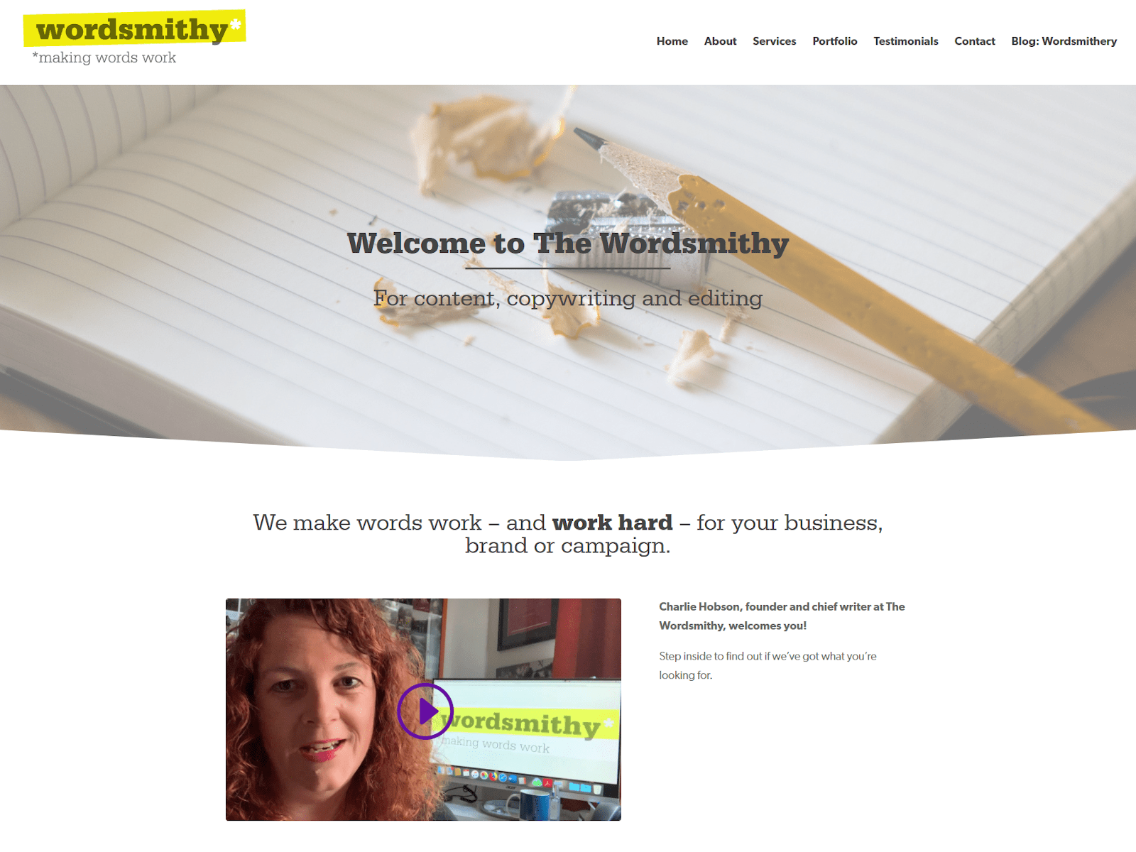 Screenshot of Wordsmithy website